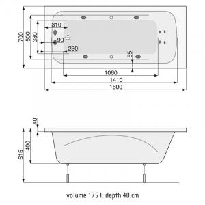 Ванна Klio 160x70 с ножками