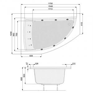 Панель до ванни Aquamarina 170 права