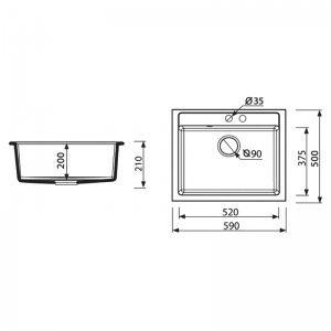 Кухонная мойка Cubo 59 врезная, черная