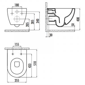 Інсталяція OLI120 Plus 099949 + чаша унітаза Free Rim-Off FE322-11CB00E-0000