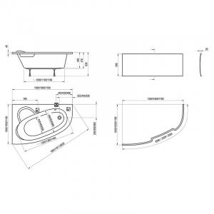 Ванна Asymmetric 150x100, левая