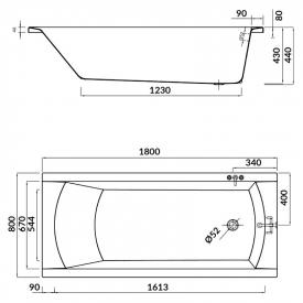 Ванна Korat 180x80 з ніжками