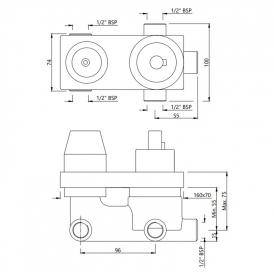 Вбудований механізм термостата Aquamax на 3 положення