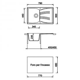Кухонная мойка Medio 79 врезная, светло-серая