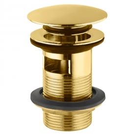 Донний клапан для раковини Click-Clack з переливом, золото