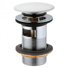 Донний клапан для раковини Click-Clack з переливом, білий