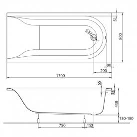 Ванна Mirra 170x80 з ніжками і підголовником