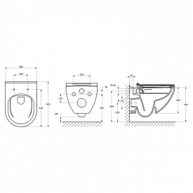 Інсталяція Eko Frame A89P00T010 + чаша унітаза Hebe Rimless A34H138000