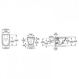 Інсталяційна система Eko Frame A89P00T010+чаша унітаза Gap Round Rimless з сидінням Ultra Slim A34H0N8001-US