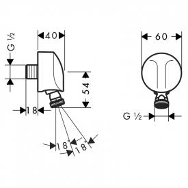 Подключение FixFit E для душевого шланга с шарниром
