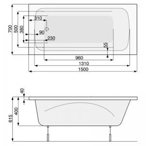 Ванна Klio 150x70 с ножками
