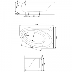 Акриловая ванна Spring 170 R