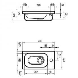 Мини-раковина Chrome 40 мебельная правая с отверстием справа