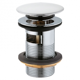 Донный клапан для раковины Click-Clack с переливом, белый
