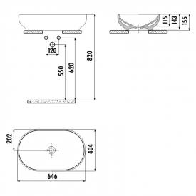 Раковина Mina 65 накладная овальная